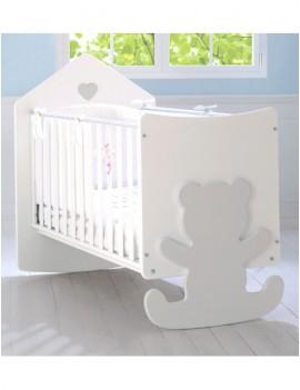 Детская кровать Baby Expert Casetta с реечными бортами бело-серая