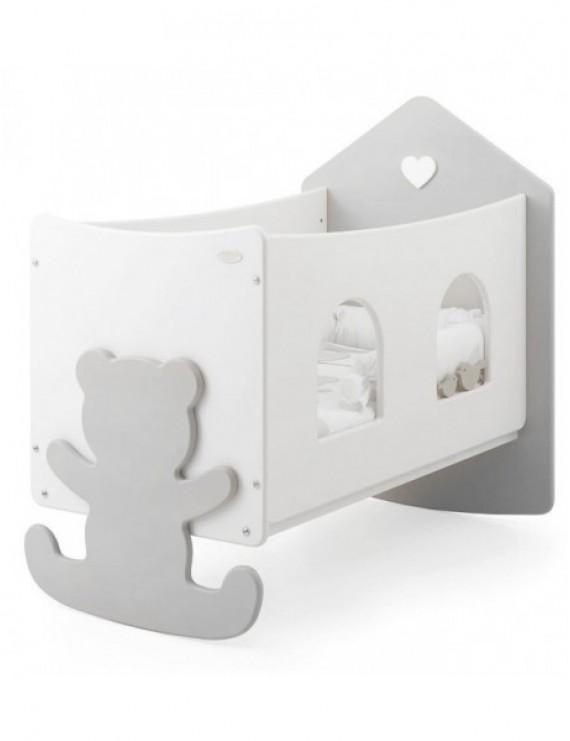 Детская кровать Baby Expert Casetta Top с окошками бело-серая