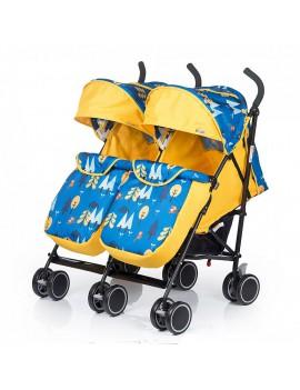Коляска Babyhit Twicey для двойни, жёлтая с синим